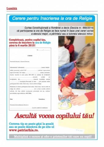 """Părinţi pentru Ora de Religie: Cererea pentru înscrierea copilului (PDF). Liana Stanciu: """"Educaţia fără religie înseamnă şcoală fără suflet, neam fără Dumnezeu şi fără identitate"""""""