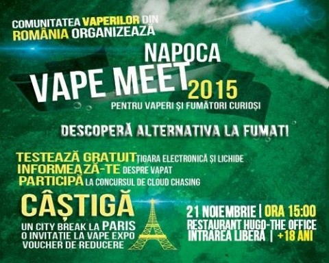 Doar pentru vaperi pasionați! Napoca Vape Meet, pe 21 noiembrie 2015