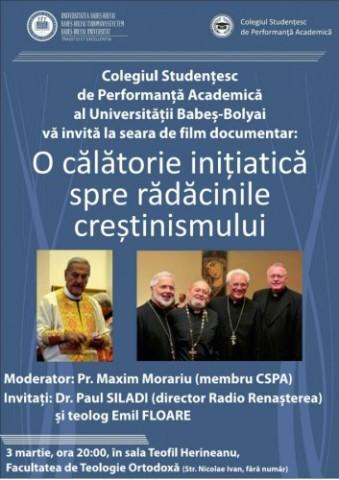 Seară de film documentar, la Facultatea de Teologie Ortodoxă din Cluj-Napoca