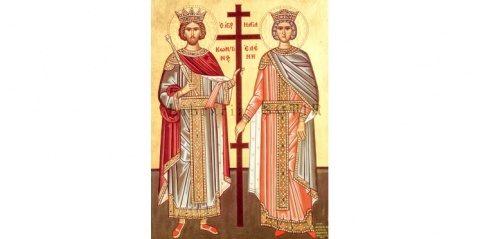 Sfinţii Mari Împăraţi şi întocmai cu Apostolii, Constantin şi mama sa, Elena