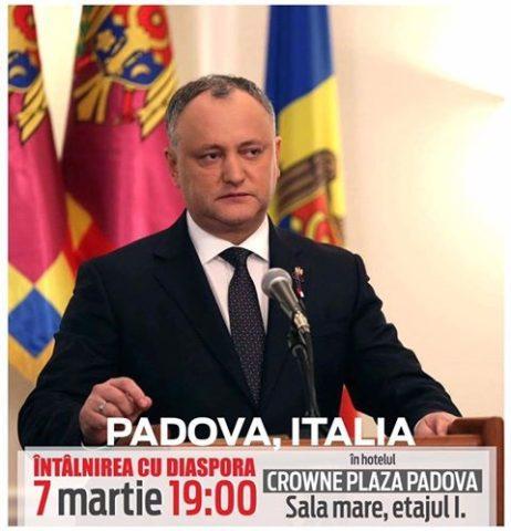 Dodon a cerut ajutorul polițiștilor italieni de teama molodvenilor unioniști la Padova