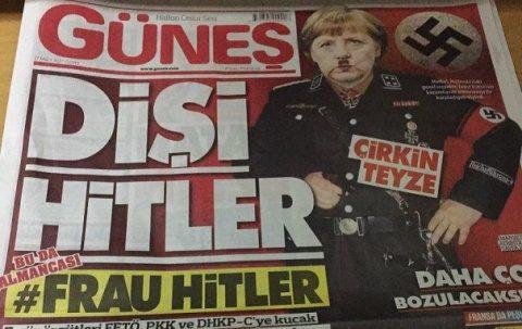 Ziar turc jignește poporul german: Imaginea lui Merkel în chip de Hitler