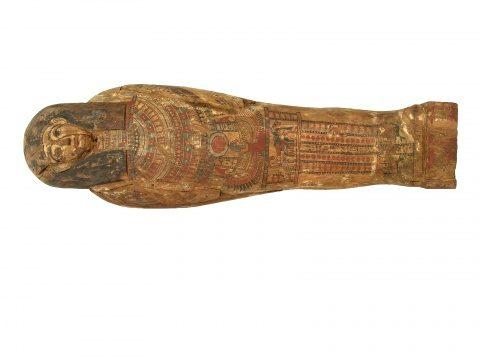 O mumie expusă la Muzeul Național de Istorie a Transilvaniei, în expoziţia Egiptul și misterele lui