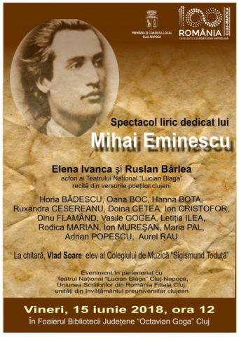 Spectacol liric dedicat lui Mihai Eminescu la Cluj-Napoca. Participă poeţii clujeni