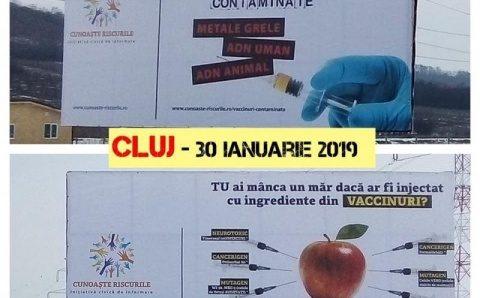 Au dispărut panourile cu mesaje antivaccinare din Cluj-Napoca. Nu există niciun caz de gripă în oraș