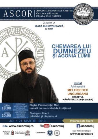 Chemarea lui Dumnezeu şi agonia lumii – Arhim. Melhisedec Ungureanu – Seară duhovnicească A.S.C.O.R. Cluj