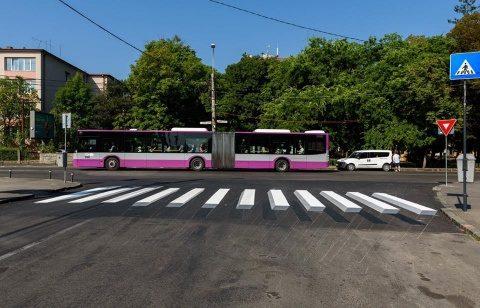 Prima trecere de pietoni cu marcaj orizontal 3D din Cluj-Napoca
