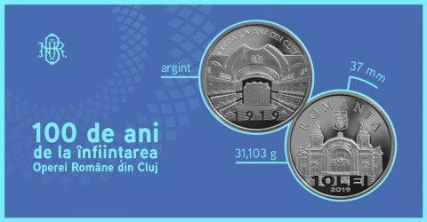 """BNR: monedă din argint cu tema """"100 de ani de la înfiinţarea Operei Române din Cluj"""""""
