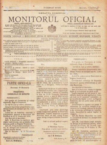 28 noiembrie 1918, Congresul General al Bucovinei adopta, la Cernăuţi, moţiunea unirii Bucovinei cu Regatul României