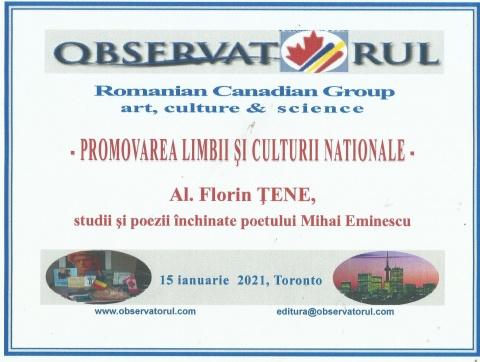 """De Ziua Națională a Culturii Române. Scriitor clujean gratulat la Torono cu Diploma """"Promovarea Limbii și Culturii Naționale"""""""