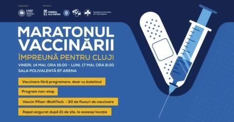 Maratonul Vaccinării începe vineri la ora 16 la BT Arena Cluj-Napoca. Vaccinarea, fără programare