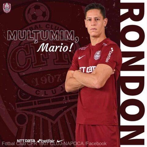 CFR Cluj şi jucătorul venezuelean Mario Rondon au ajuns, duminică, la o înţelegere privind rezilierea de comun acord a contractului