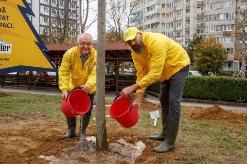 Boc și Stelea au plantat 20 de arbori cu balot de talie mare în Parcul Primăverii