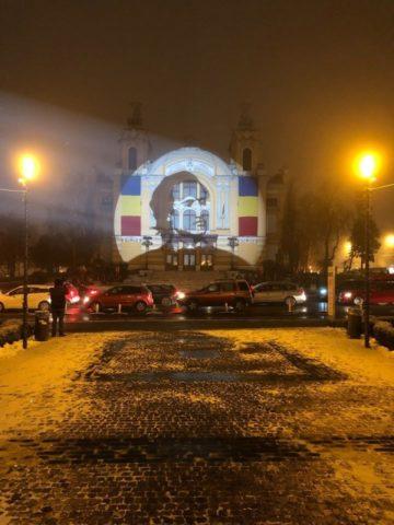 """""""Flacăra culturii"""", portretul lui Mihai Eminescu proiectat pe clădirea Teatrului Național Cluj"""