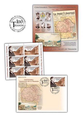 """Emisiunea de mărci poştale """"Centenarul Tratatului de la Trianon"""", pentru aniversare 100 de ani de la recunoaşterea internaţională a Marii Uniri"""
