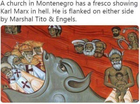 Marx, pictat în iad într-o biserică din Muntenegru