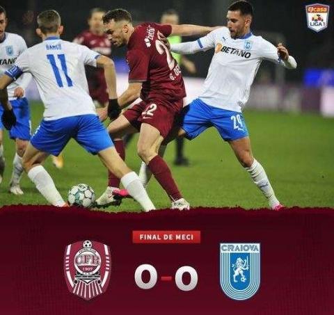 CFR Cluj a terminat la egalitate cu Universitatea Craiova, scor 0-0