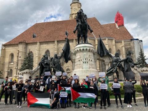 Manifestație de susținere a palestinienilor  a avut loc și la Cluj-Napoca,
