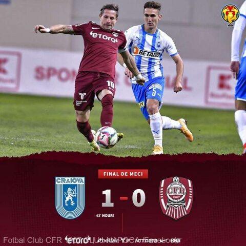 Universitatea Craiova s-a calificat în optimile de finală ale Cupei României la fotbal, după ce a învins-o pe CFR Cluj