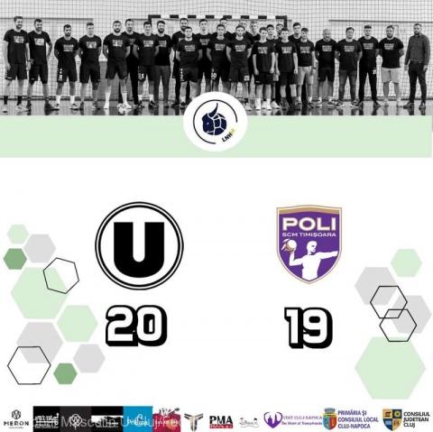 CS Universitatea Cluj a învins-o pe SCM Politehnica Timişoara cu scorul de 20-19 (10-10)