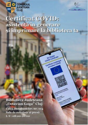 """Asistență în generarea certificatului COVID, la Biblioteca Județeană """"Octavian Goga"""" Cluj"""